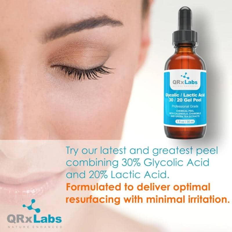 QRxLabs Glycolic Lactic Acid 30 20 Gel Peel Ad